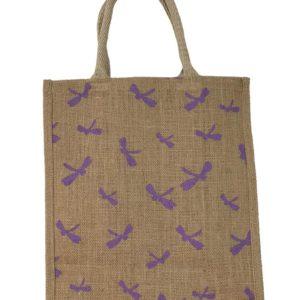Hessian Yoga Carry Bag - Purple - Back